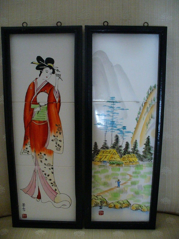 Vintage Japanese Hand Painted Signed Ceramic Tiles Framed