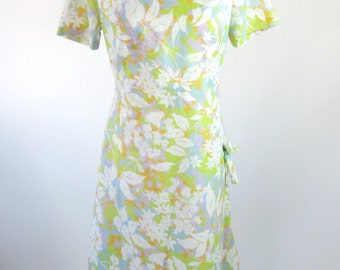 1960s Floral Dress Green Classic Lady Womens Medium Large