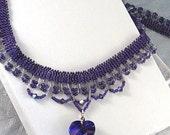 Swarovski Heart Necklace - Bead Woven Pendant Necklace in Purple - Beaded Keepsake Jewelry - Romantic Jewelry For Her