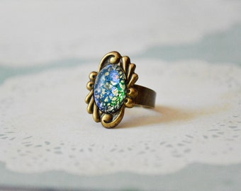 Green Harlequin Opal Ring - Mystical Ring - Opal Jewelry - Adjustable Ring - Faux Opal Cabochon - Fire Opal Ring