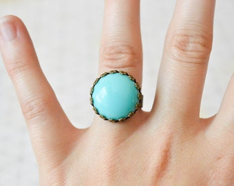 Turquoise Ring - Turquoise Jewelry - Crown Bezel - Shabby Chic Ring - Adjustable Ring - Cocktail Ring - Lucite Jewelry