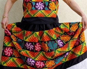 SALE Vintage Mexican embroidery Tehuana costume Frida -Black Satin multi-colors - Medium/large