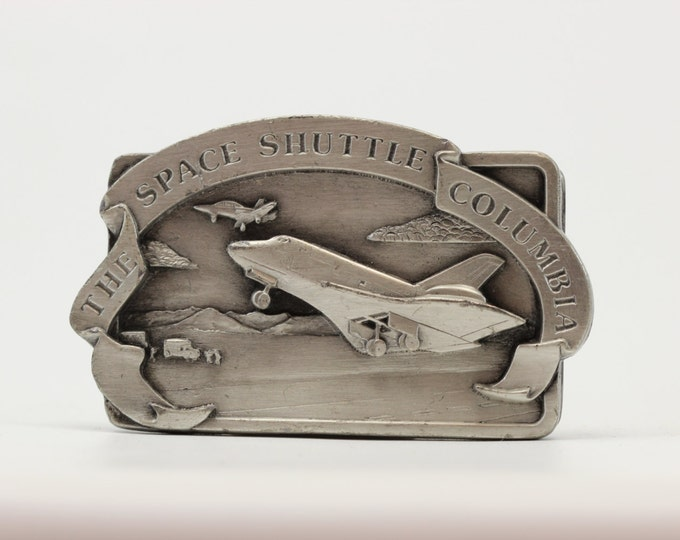 Vintage NASA Belt Buckle Space Shuttle | Columbia Rocket Ship Aviation Space Exploration | True Vintage Belt Buckle - Summer Sale BB13