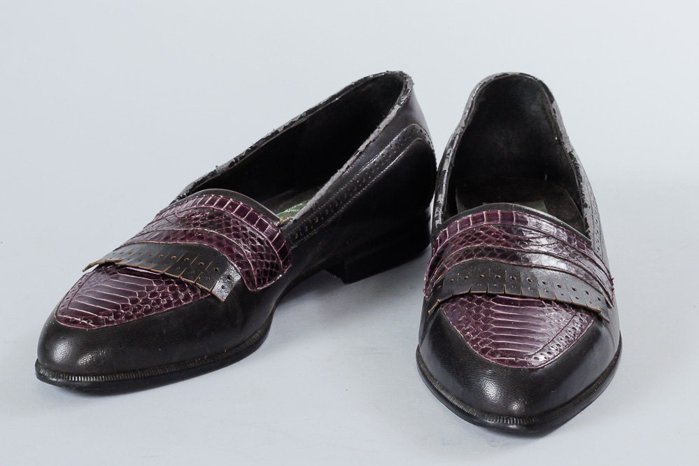 black and purple snake mens dress shoes flat heel rounded