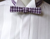 mens bowtie, super-skinny style, purple / white check cotton fabric, self tie, freestyle bow tie for men - handmade by Bagzetoile