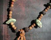 Necklace with Lava stone, Wood, Green Turquoise, Crystal Quartz, Hobbit