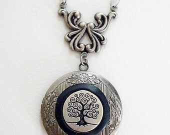 Tree of Life Locket, Memory Keeper in a Dark Silver Setting