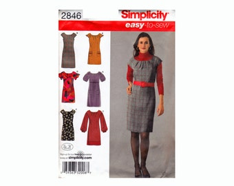 Simplicity 2846 Easy to Sew Dress or Mini Dress With Sleeve Variations OOP UNCUT Sewing Pattern Sizes 12 14 16 18 20 Bust 34-42