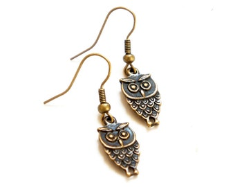 SALE Antiqued Brass Tiny Owl Dangle Earrings - C0003