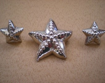 Now on Sale, Sterling Silver Starfish Demi Parure, Pin and Earrings