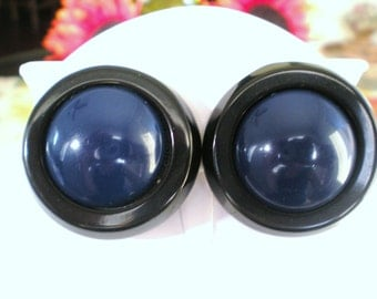 Now on Sale, Lucite Navy Blue and Black Circle Earrings, Designer Signed