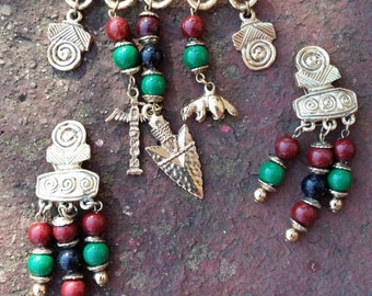 Now on Sale, Huge Bold Native American Totem Demi Parure Pin and Earring Set