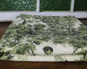 RESERVED Green and Cream Victorian Toile Vintage Fabric - Six yards