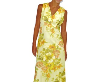 Vintage 60s Yellow Floral Summer Sleeveless Maxi Dress Gown, Size Medium-Large
