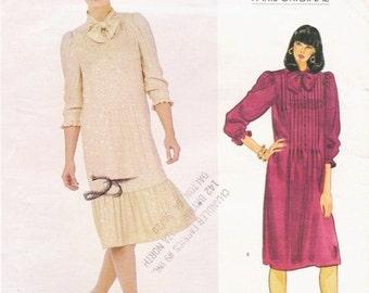 80s Nina Ricci Womens Front Tucked Dress Vogue Paris Original Sewing Pattern 2988 Size 8 Bust 31 1/2 UnCut
