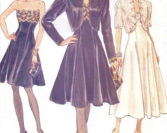 90s Womens Bolero Jacket and Retro Strapless Dress Vogue Sewing Pattern 8229 Size 8 10 12 Bust 31 1/2 to 34 Mother of the Bride