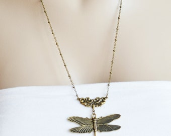dragonfly necklace,antique brass dragonfly jewelry,bug necklace,insect jewelry,nature woodland whimsical,bridesmaid gift,long necklace