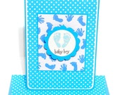 Baby Boy Card with Matching Embellished Envelope- Blue Footprints