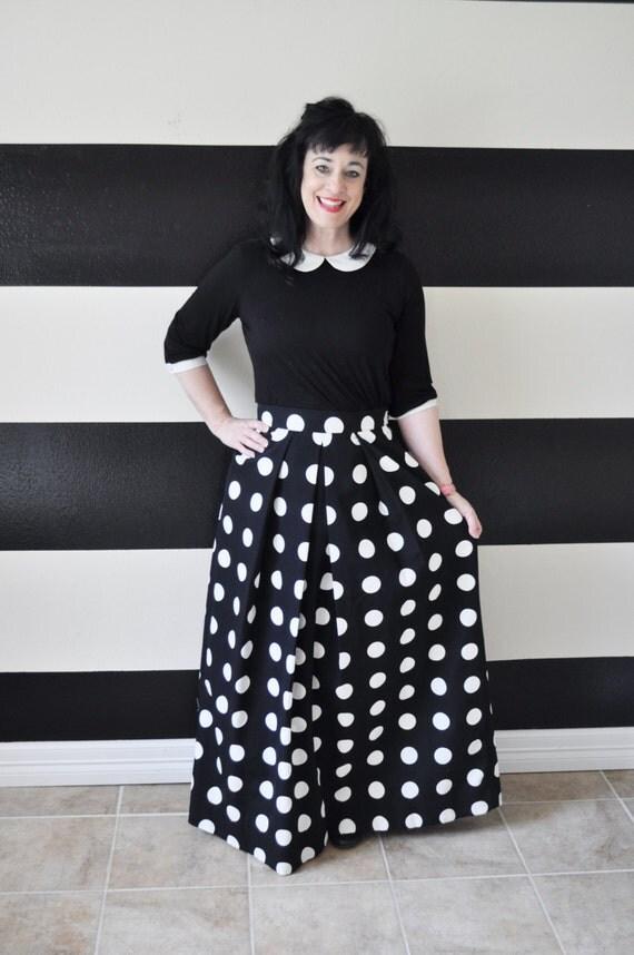 black and white polka dot midi skirt mini skirt by