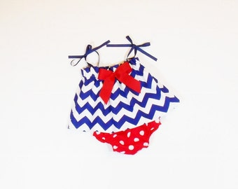 Baby Toddler Girl PATRIOTIC Chevron TOP and BLOOMER Outfit Newborn - 2T Summer Clothes Diaper Cover Red White Blue