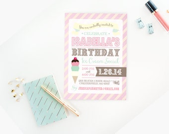 Ice Cream Social Party Collection - PRINTABLE INVITATION DESIGN by Itsy Belle