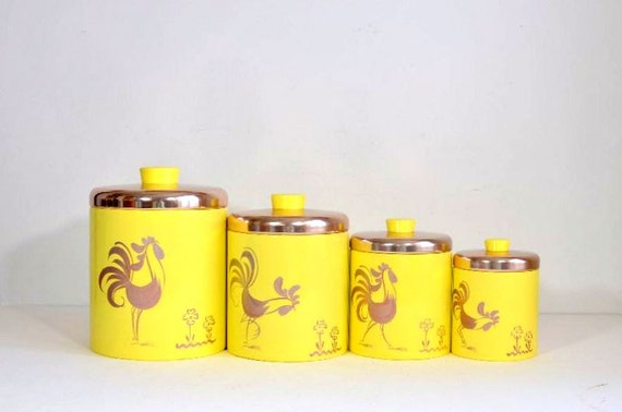 yellow canister sets kitchen vintage ransburg kitchen yellow rooster metal by 22788