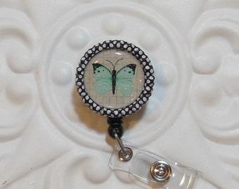 Retractable Badge Holder - Bottlecap ID Badge Reel - Teacher Lanyard - Butterfly