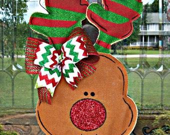 Christmas Reindeer Burlap hanger, reindeer door hanger, burlap door hanger, christmas decor, christmas door hanger, reindeer decor