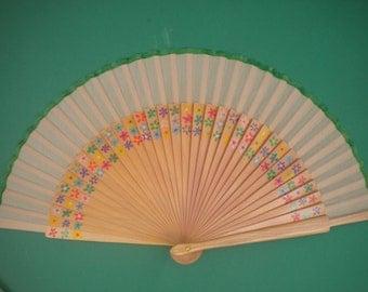 Ditsy Floral Wooden Hand Fan Standard 24cm
