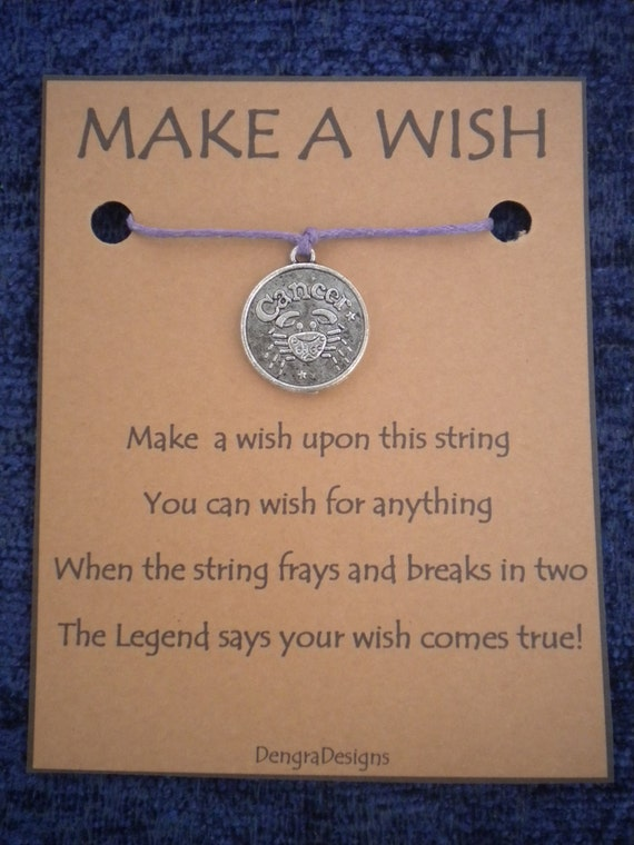 WISH STRING Bracelet HOROSCOPE Zodiac Silvertone Cancer Cord Color Choice
