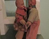 RESERVED Antique Rare Dancing Dolls / Rare Composition Boy Girl Dolls Attached / 1920s