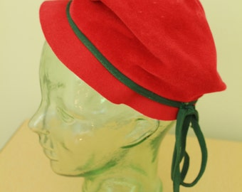 SALE - Vintage - 60s - Mod - Felt Fur - Red - Hunter Green Ribbon - Slouchy Beret with Bill - Ladies Hat - Velour Regale