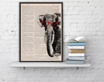 Summer Sale Geek Elephant (with glasses) Print on Vintage Book page ,vintage book print- Nursery wall art digital print ANI096