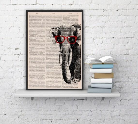 BOGO Sale Geek Elephant (with glasses) Print on Vintage Book page ,vintage book print- Nursery wall art digital print ANI096