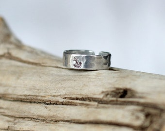 Adjustable Silver Anchor Ring, Affordable Silver Anchor Ring, Nautical Rings