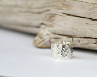 Chunky Sterling Silver Ring Hammered Thick Band