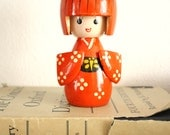 Antique vintage japanese doll -  Kokeshi doll - vintage wooden handpainted geisha