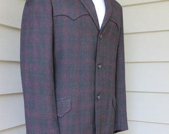vintage 50's - 60's -Allen- Men's Western coat. Purple shadow fade plaid - Lightweight.  Size 38 - 40. Made in Denver, CO.