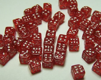 25pcs 5mm Red Glitter Dice Beads
