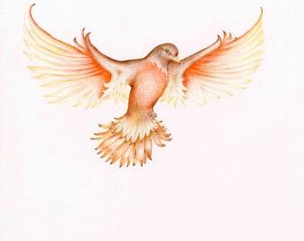 Custom Tattoo Design Art for Tattoo Whimsical Tattoo Bird Drawing Custom Artwork Commissioned Artwork Custom Art Fine Art Keepsake Gift