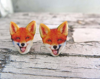 Fox Fashion Woodland Animal Cute Fox Earrings Stud Post Gift for Her Teens Tweens Nature Lover Forest Creature Quirky Image Jewellery