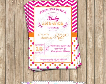 DIY Sherbet Orange and Pink  Baby Shower PRINTABLE Invitation 5x7  it' a girl