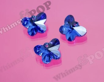 10 - Blue Butterfly Faceted Glass Crystal Beads, Butterfly Bead Charm, 15mm Glass Beads (R8-056)