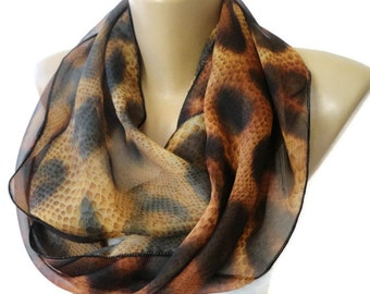 CHRISTMAS, HOLIDAY GIFT, Gifts For Her, Gifts For Women brown leopard scarf  women infinity scarf ,summer scarves , accessory senoAccessory