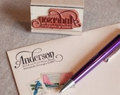 Custom return address stamp SERIF SCRIPT DESIGN with wood handle - calligraphy stamp