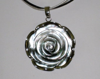 "Sterling and Carved Shell Rose Pendant, 2 1/8"" Across, On 3 Cords 18"" To 20"" Necklace, Marked SX 925,  FREE US Shipping"