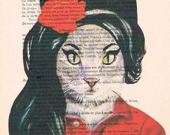 Amy Winehouse Cat: Print Poster Illustration Acrylic Painting Animal Portrait Wall Decor Wall Hanging Wall Art Drawing Glicee