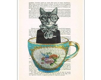 Cat Digital Print Poster Drawing Illustration Giclee Mixed Media Art Acrylic Painting Holiday Coco de Paris Decor Gifts: Cat in a cup
