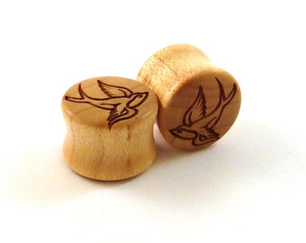 "Soaring Sparrow Maple Wooden Plugs PAIR 0g (8mm) 00g (9mm) (10mm) 7/16"" (11mm) 1/2"" 9/16"" 5/8"" 16mm 3/4"" 19mm 7/8"" + Swallow Bird Ear Gauges"