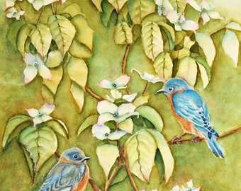 Original Art: Bluebirds & White Dogwood  Watercolor Painting, matted to 16x20, Olive Green, Yellow, Blue, White